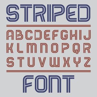 Striped label font poster met alfabet op grijze afbeelding
