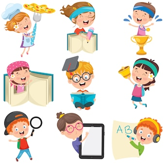 Stripfiguren bezig met verschillende activiteiten