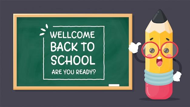 Stripfiguren briefpapier schrijf een bericht welcom back to school. ben je klaar? met een schok op het bord.