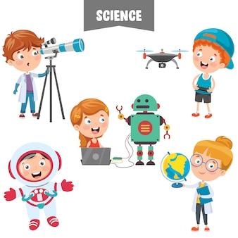 Stripfiguren die werken aan de wetenschap