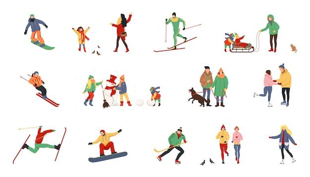 Stripfiguren die winteractiviteiten uitvoeren