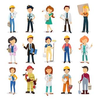 Stripfiguren. een dokter, een politieagent, een brandweerman, ingenieur, voorman, baas, arbeider, huisschilder, bouwvakker, havenarbeider, een boer, timmerman, officier