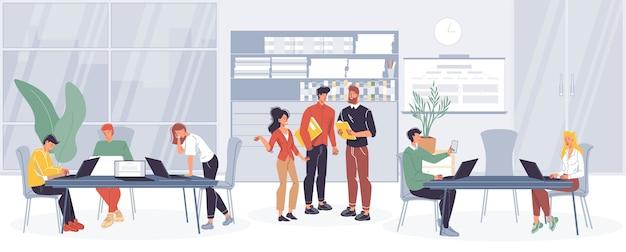 Stripfiguren kantoorpersoneel, drukke medewerkers die zaken doen, verschillende dingen en praten op kantoorinterieur.