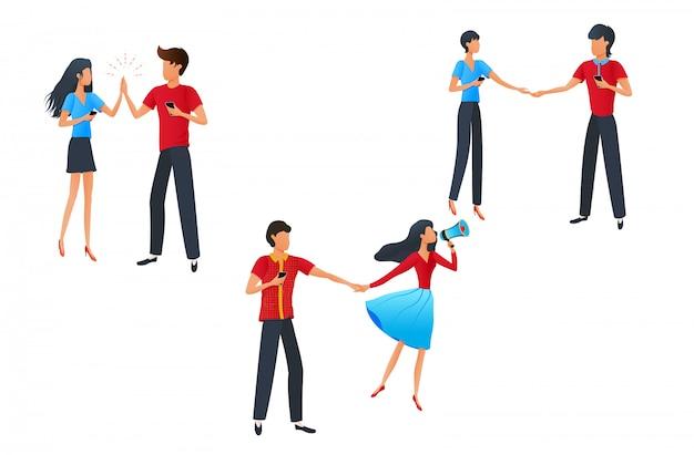 Stripfiguren man en vrouw die smartphones houden
