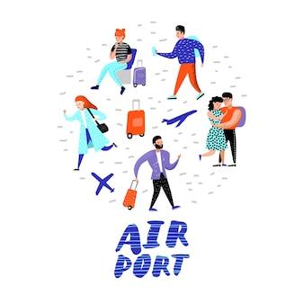Stripfiguren met bagage op de luchthaven