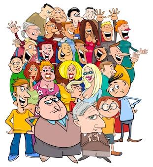 Stripfiguren personages in de menigte