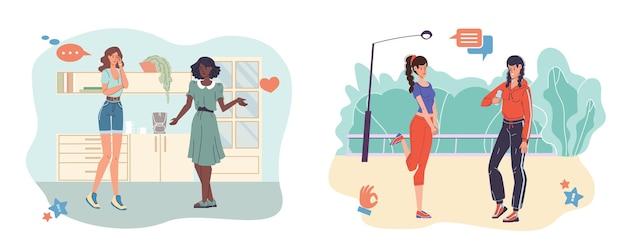 Stripfiguren praten en communiceren - verschillende personen, poses, emoties en maten.