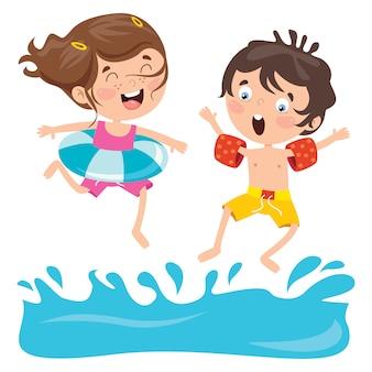 Stripfiguren springen in het water