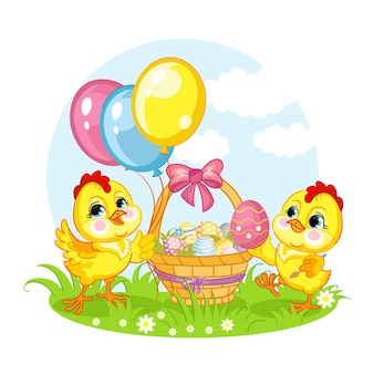 Stripfiguren twee kippen en mand met paaseieren. vector geïsoleerde illustratie.