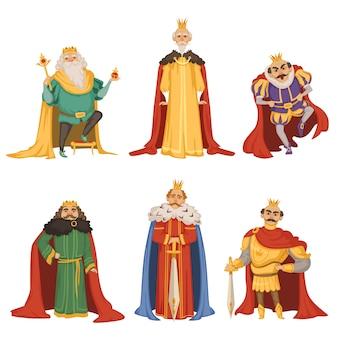 Stripfiguren van grote koning in verschillende poses