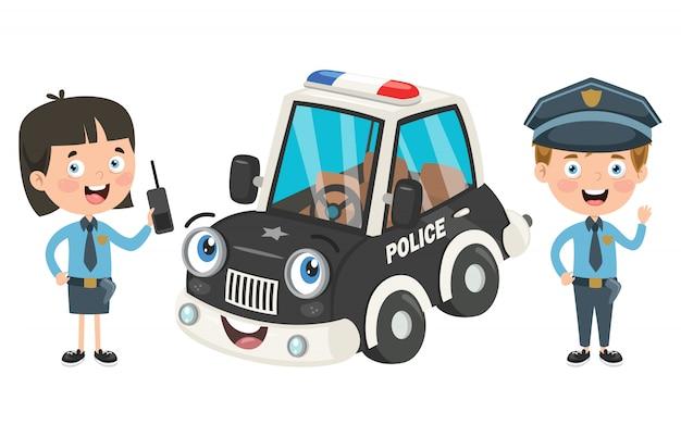 Stripfiguren van mannelijke en vrouwelijke politieagenten