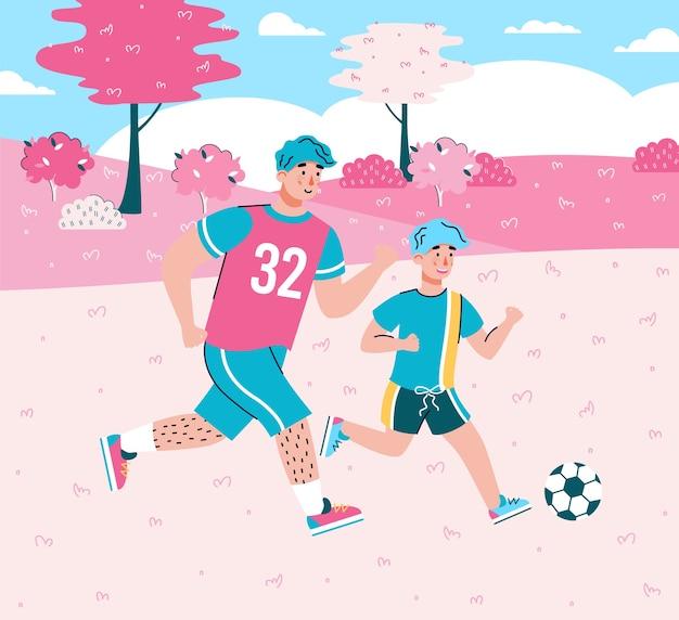 Stripfiguren van vader en zoon voetballen samen op de achtergrond van zomer landschap