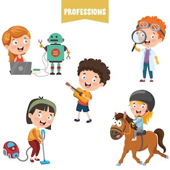 Stripfiguren van verschillende beroepen