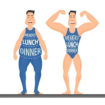 Stripfiguren, verschillende stadia, vetproblemen, sterke sport en mensen, fastfoodprobleem, illustratie