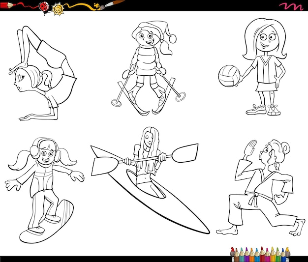 Stripfiguren voor meisjes en sportset kleurboekpagina