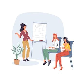 Stripfiguren werknemers, werknemers, freelancers luisteren naar leraar.