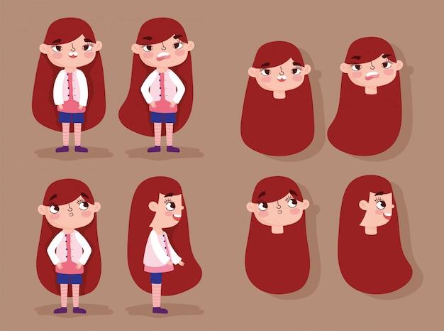 Stripfiguur animatie meisje gezichten met gebaren en verschillende houdingslichamen