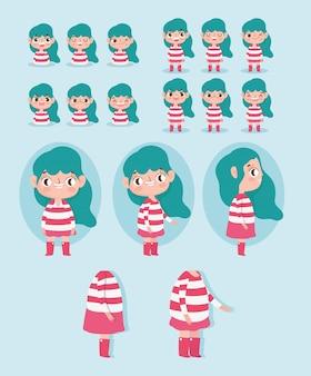Stripfiguur animatie meisje met rood gestreepte jurk sommige delen lichaam