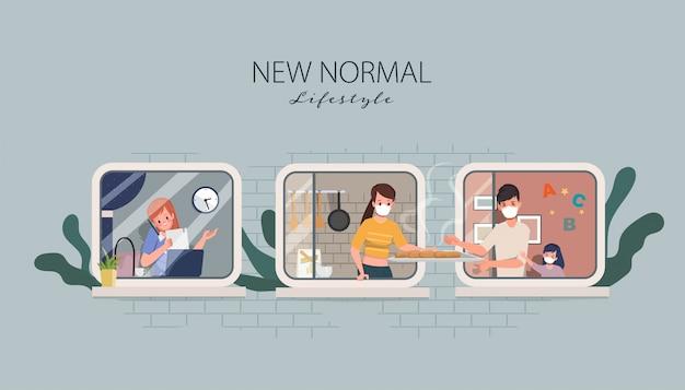 Stripfiguur blijf thuis en sociaal afstandelijk concept nieuwe normale levensstijl. werken vanuit huis concept.