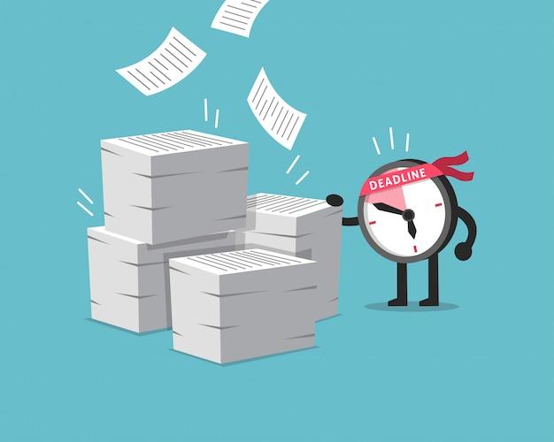 Stripfiguur deadline klok karakter met veel papierwerk
