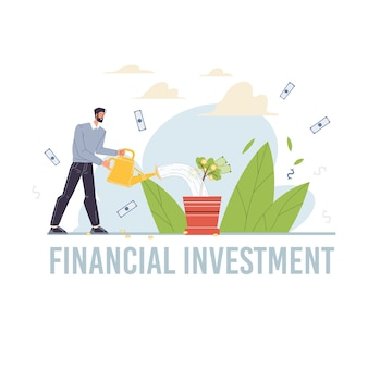 Stripfiguur groeit winst en oogsten geld inkomen - concept van financiële investeringen voor web online, site