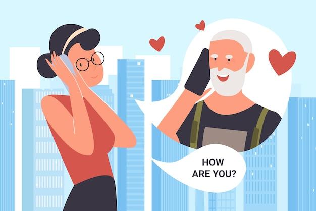 Stripfiguur jonge gelukkige vrouw met behulp van mobiele telefoon voor het bellen van vader-ouders