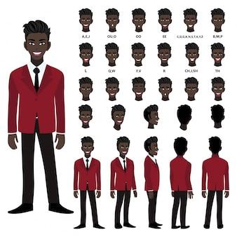 Stripfiguur met afro-amerikaanse zakenman in pak voor animatie. voorkant, zijkant, achterkant, verschillende weergave karakter. afzonderlijke delen van het lichaam. platte vectorillustratie