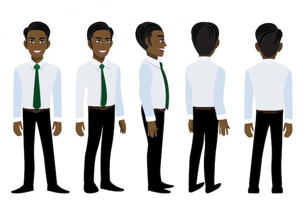 Stripfiguur met amerikaanse afrikaanse zakenman in slim shirt voor animatie.