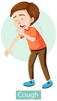Stripfiguur met hoest symptomen