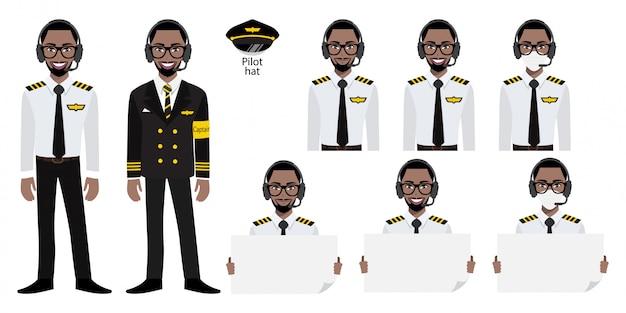 Stripfiguur met kapitein van de amarican afrikaanse luchtvaartmaatschappij in uniform met glimlach, medisch masker en poster sjabloon te houden. verzameling van geïsoleerde illustraties