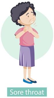 Stripfiguur met keelpijn symptomen