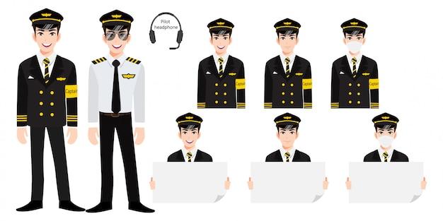 Stripfiguur met luchtvaartmaatschappij kapitein in uniform met glimlach, medisch masker en bedrijf. verzameling van geïsoleerde illustraties