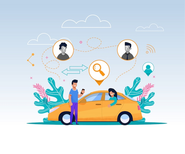 Stripfiguur met mobiele telefoon wacht tot cab kan rijden