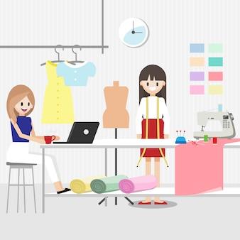 Stripfiguur met modeontwerper baan
