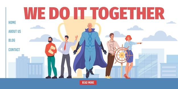 Stripfiguur met plat superheld leidt team van succesvolle zakelijke medewerkers