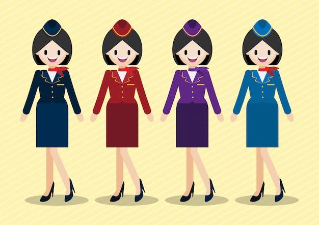 Stripfiguur met prachtige stewardess en vier werk uniforme stijlen. Premium Vector