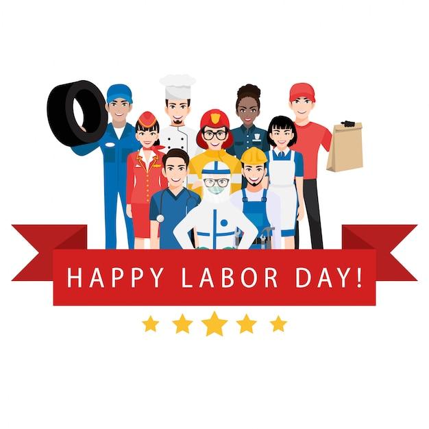 Stripfiguur met professionele werknemer in happy labor day festival