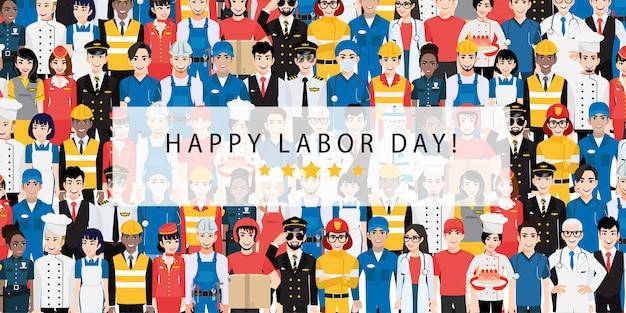 Stripfiguur met professionele werknemer in labor day festival ontwerp vector