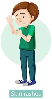 Stripfiguur met symptomen van huiduitslag
