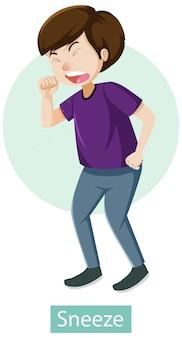 Stripfiguur met symptomen van niezen