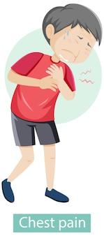 Stripfiguur met symptomen van pijn op de borst