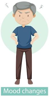 Stripfiguur met symptomen van stemmingswisselingen