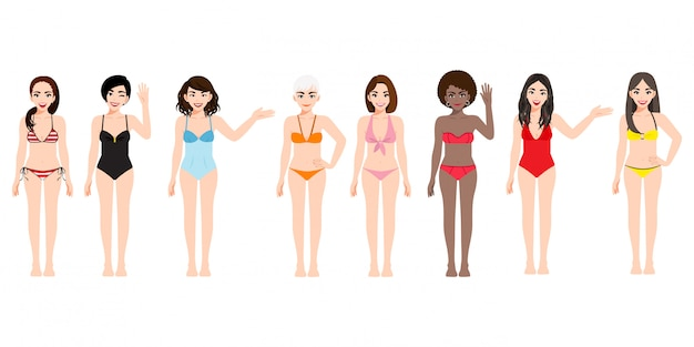 Stripfiguur met vrouw in zwemmen pak collectie ingesteld voor de zomer