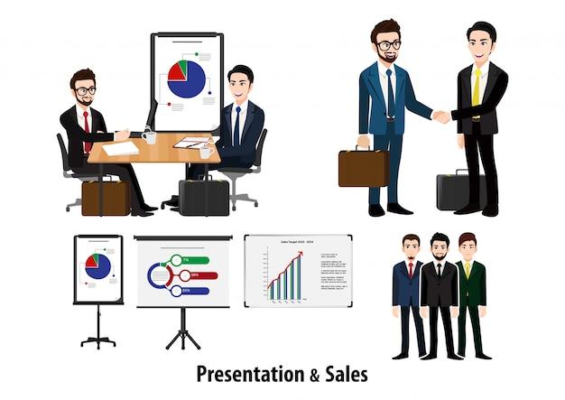 Stripfiguur met zakelijk sollicitatiegesprek, brainstormen, verkoop sluiten, handdruk en verschillende grafieken. platte icon set
