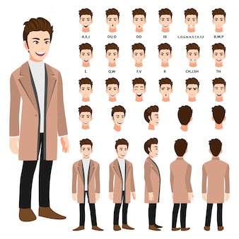Stripfiguur met zakenman in een lange jas voor animatie. voorkant, zijkant, achterkant, verschillende weergave karakter. afzonderlijke delen van het lichaam. platte vectorillustratie