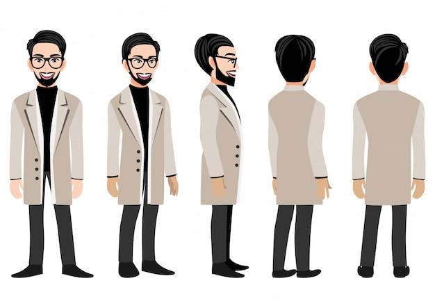 Stripfiguur met zakenman in een lange jas voor animatie.