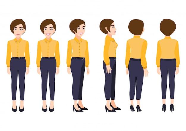 Stripfiguur met zakenvrouw in slimme shirt voor animatie. voorkant, zijkant, achterkant, 3-4 weergave karakter.