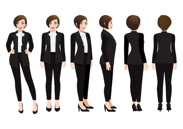 Stripfiguur met zakenvrouw in zwart pak voor animatie.