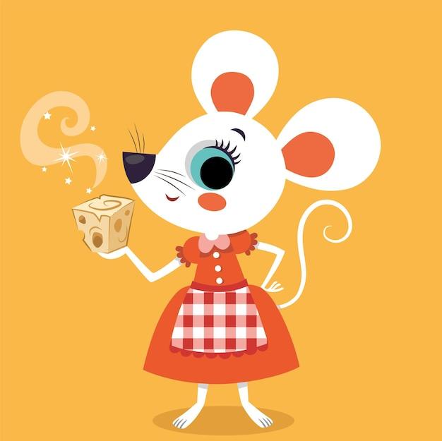 Stripfiguur muis houdt een kaas in haar hand vectorillustratie
