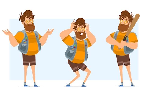 Stripfiguur plat bebaarde dikke hipster man in jeans jerkin en zonnebril. klaar voor animatie. de jongen begrijpt het verkeerd en houdt een honkbalknuppel vast. geïsoleerd op blauwe achtergrond.